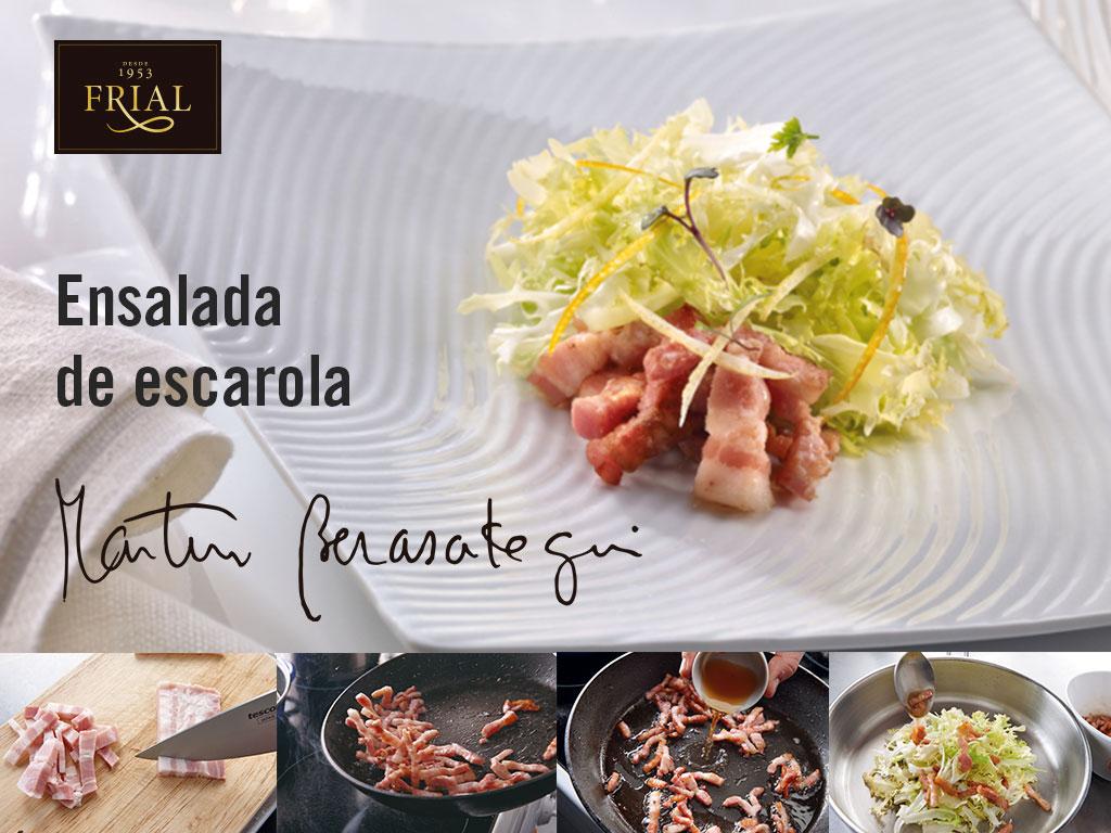 ENSALADA DE ESCAROLA CON BACON AHUMADO. RECETA DE MARTÍN BERASATEGUI