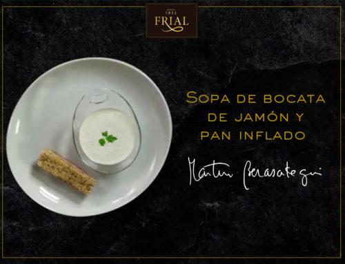 SOPA DE BOCATA DE JAMÓN Y PAN INFLADO. RECETA DE MARTÍN BERASATEGUI